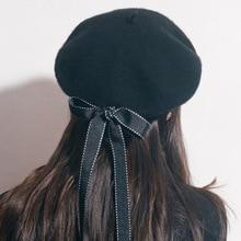 2019 New Fashion Women Soft Bow Elegant Berets Winter Warm Hat Harajuku Wool