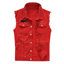 Mens vest new fashion casual denim jacket sleeveless red top Y813