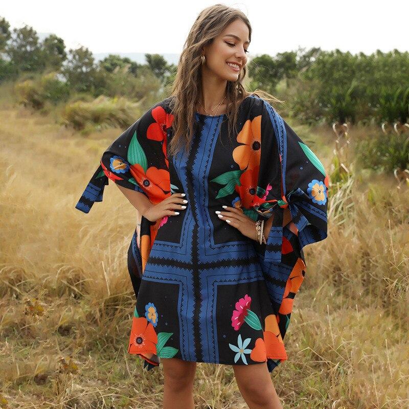 Женское платье с рукавом «летучая мышь», свободное повседневное богемное платье-трапеция, пляжные мини-платья, весна-лето 2020