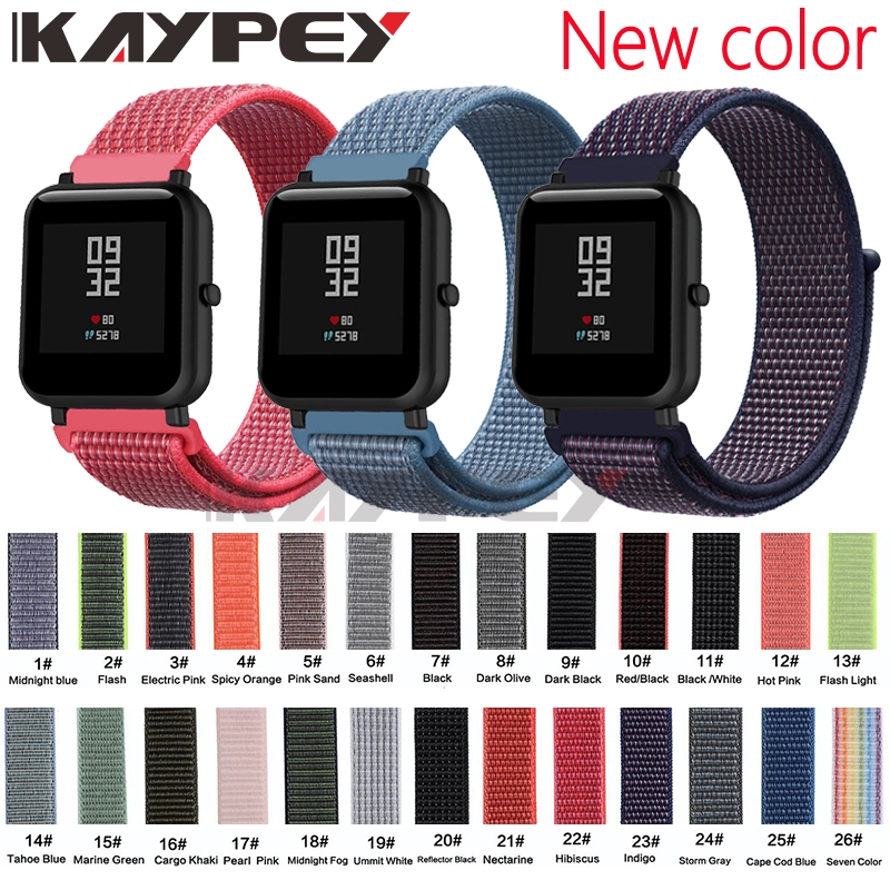 20mm Nylon Loop Woven Strap For Xiaomi Huami Amazfit Bip BIT Lite Youth Smart Watch Wearable Wrist Bracelet Amazfit Watchband