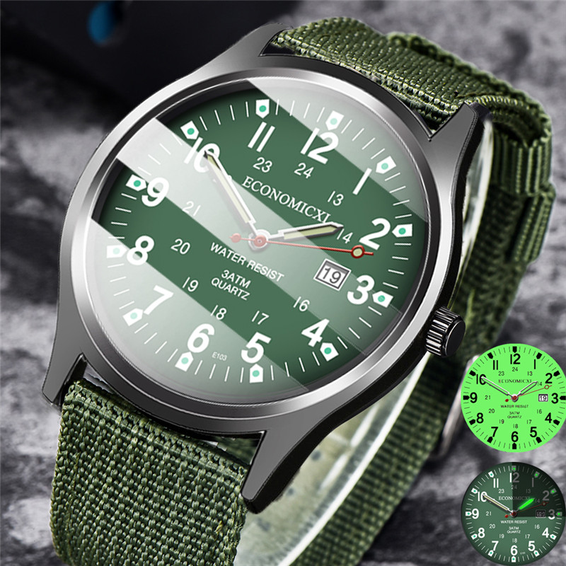 2020 Mens Watches Luminous Pointer Watch Mesh Belt Luxury Watch Military Mens Clock Quartz Watches Date Luxury Sport Wrist Watch