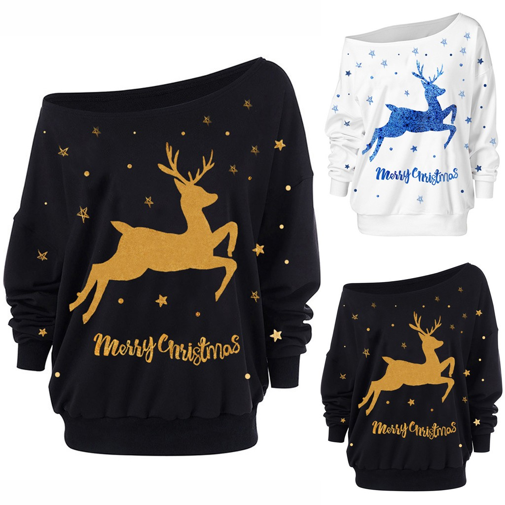 Christmas Deer Print Women's Plus Size Blouse Fashion Slash Neck Loose Long Sleeve Off-Shoulder Sweatshirt 2020 New Year#40