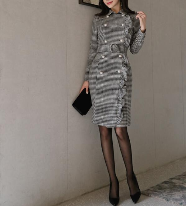 Vintage Double Breasted Plaid Long Blazer Dress Ladies Office Wear Suit Jacket Slim Bodycon Houndstooth Midi Dresses Female 2020