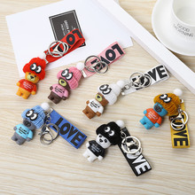 "Cute Cartoon Teddy Bear Keychain ""THIS IS NOT A KOSCHINO TOY"" Bear Keychains For Women Men Key Chain Car Key Ring Bag Pendant(China)"