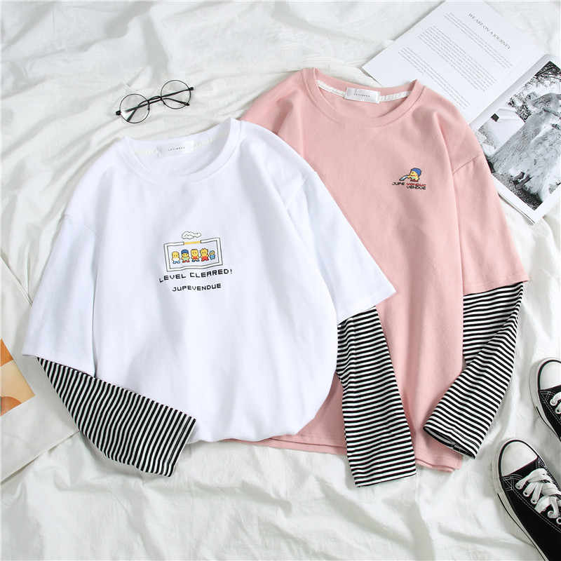 Harajuku Donne di Autunno Magliette Top Stile Giapponese Patchwork A Strisce Feminina T-Shirt A Manica Lunga Cute Cartoon Bianco T Shirt Mujer