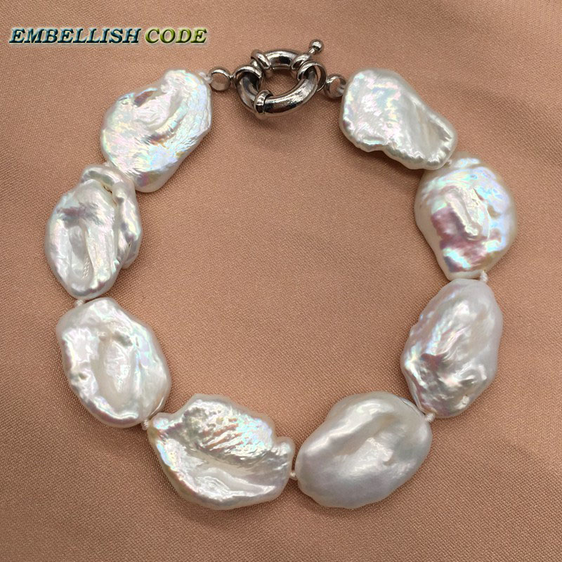 Good Lustrous Baroque Keshi Style Pearls Bracelet Bangles White Color Flat Block Shape Cultured Pearl Special Gift For Girl