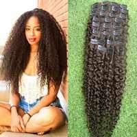 Pelo Rizado de Mongolia Clip en extensiones de cabello humano #4 marrón oscuro 9 unids/set Clip-Clip ins cabello Remy cabeza completa de 120G