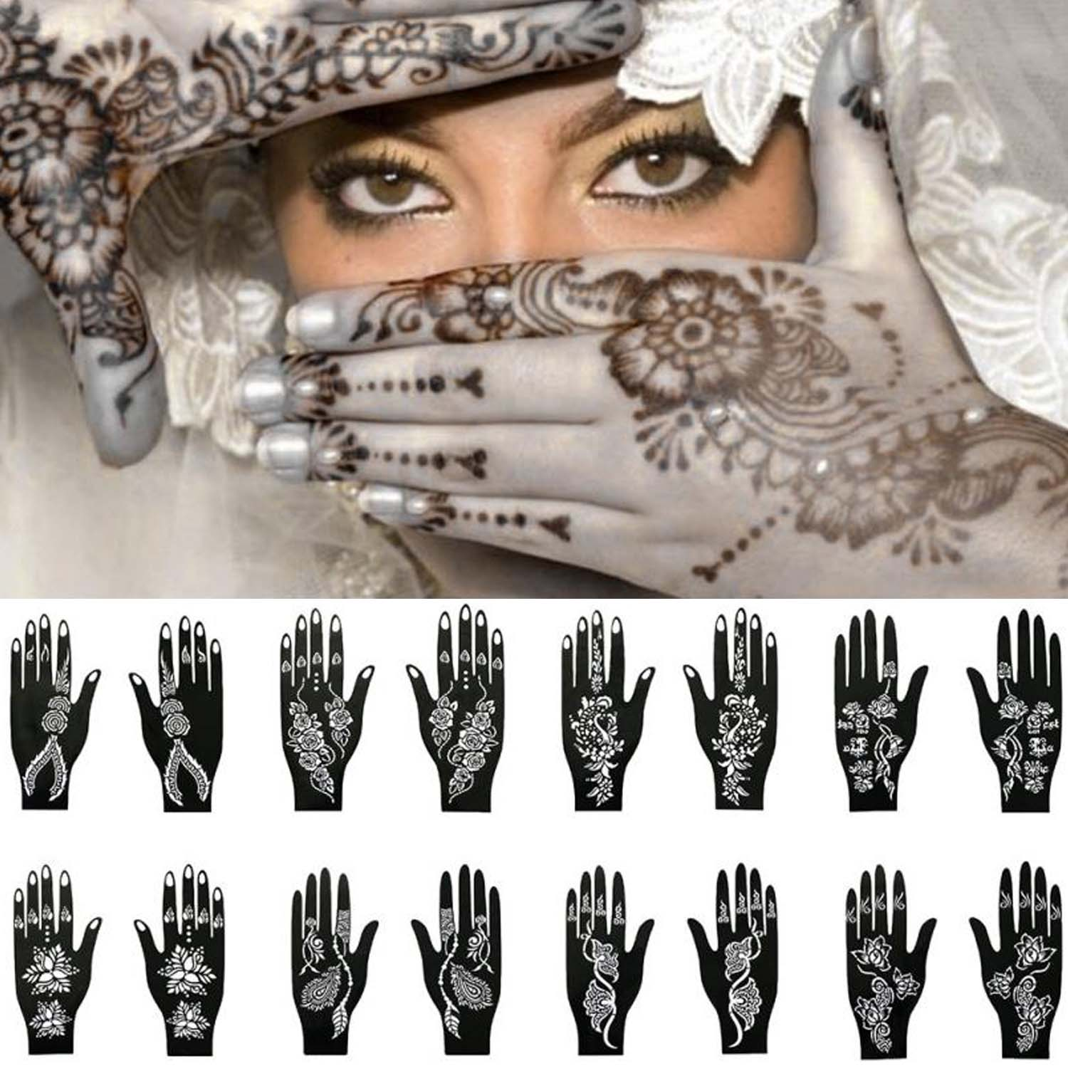 Reusable Henna Tattoo Temporary Stencil Template Sticker For Men Women Teens Hand Finger Body Paint Wedding Birthday Party