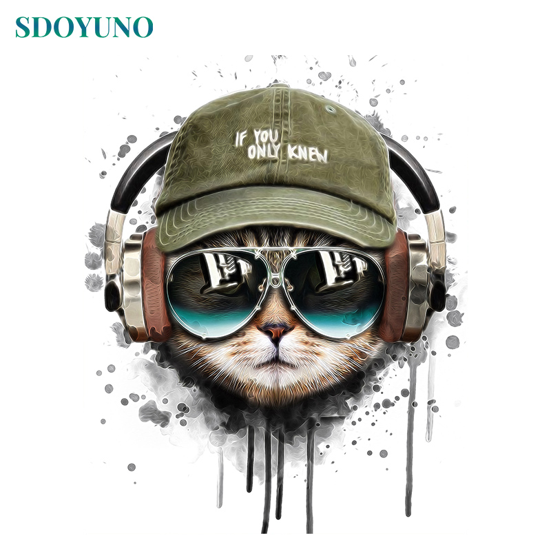 SDOYUNO 60x75cm Painting By Numbers Wall Art Digital Painting Home Decor Frameless DIY Animals Cat Pictures By Numbers On Canvas