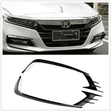 Front Bumper Fog Light Lamp Eyebrow Cover Trim For Honda Accord 10th 2018 Black Car Spoiler Intake Grill Eyelid Strip Frame Brow