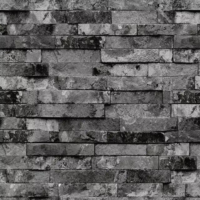 Retro Green Gray Brick Wallpaper Waterproof PVC3D Stereo Art Stone Brick Wall Wallpaper Wholesale