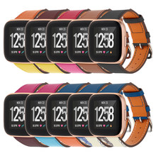 Genuine For Fitbit Versa/Versa 2 Stripe Leather WristBand Breathable Watch Strap with Multi-styles for Fitbit Versa 2 Bracelet