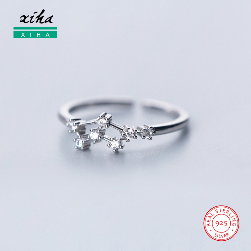 Adjustable 925 Sterling Silver 12 Constellation Zodiac Open Ring For Women Teen Girl Aries Cancer Zircon CZ Dainty Knuckle Ring
