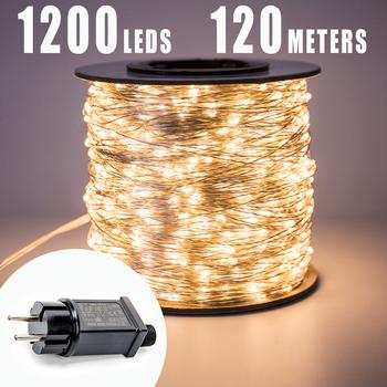 Wodoodporny zewnętrzny łańcuch LED 30 m 50 m 100 m girlanda żarówki światełka uliczne bajkowe na zewnątrz lampki świąteczne dekoracja na wesele wakacje tanie i dobre opinie ZELUXDOT CN (pochodzenie) 1 YEAR CHRISTMAS copper Żarówki LED 110 220V Klin 10000cm 1-5 m 200 sw66544 HOLIDAY Super Long