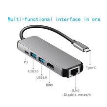 цена на feedme USB HUB 3.0 Laptop Docking Station HDMI RJ45 Type-C USB C USB3.0 Laptops USB Dock for MacBook Samsung Galaxy S9 /S8 / S8