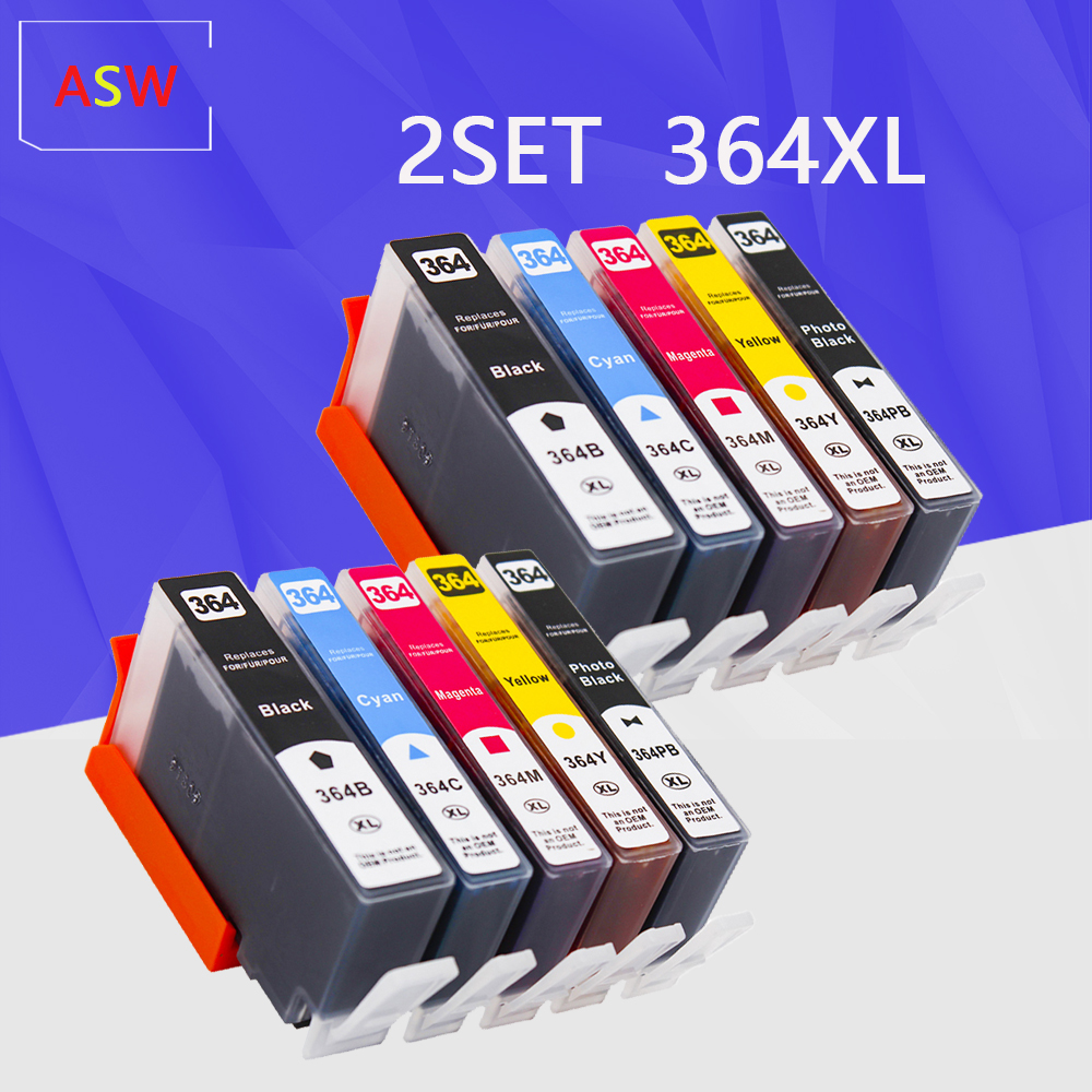 10PK 364XL Compatible Ink Cartridge Replacement for <font><b>HP</b></font> <font><b>364</b></font> XL 5510 5515 5520 7520 B109a 6510 Deskjet 3070A 7510 Printer image