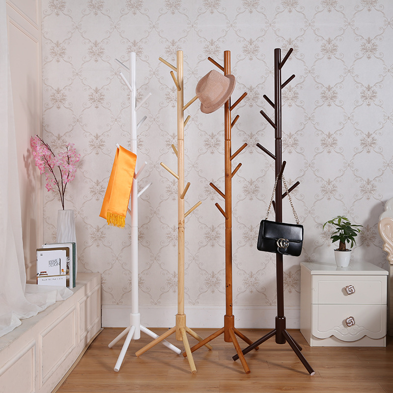 Wood Tree Coat Rack Stand Wooden Coat Rack Free Standing With 8 Hooks For Coats Hats Scarves Clothes Handbags