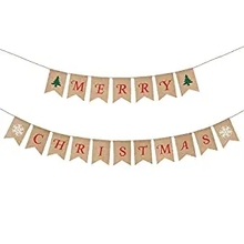 METABLE 1SET Merry Christmas Banner Burlap Bunting Hanging Pennant Flag Garland for Home Garden Party Holiday Decoration