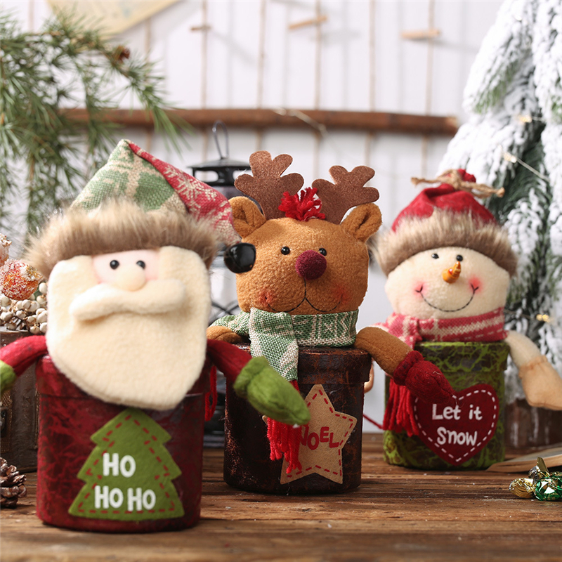 2019 Xmas new Year DIY Christmas temperament candy jar Santa Claus gift box Snowman apple box Children 39 s cartoon doll gift box in Pendant amp Drop Ornaments from Home amp Garden