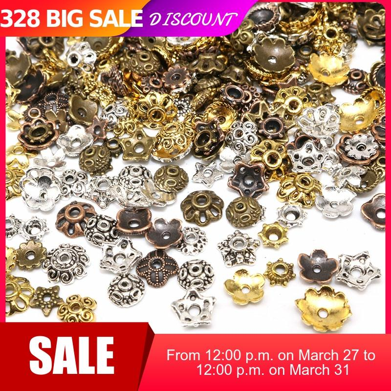 100/200pcs Small Mixed Size Tibetan Antique Silver Color Beads Caps Mix Flower Bead Cap Needlework Diy Accessories End Caps