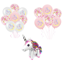 1set Unicorn Party Decoration Balloons Birthday Decorations Kids Babyshower Girl Decor Supplies 12inch Round Latex Ballons