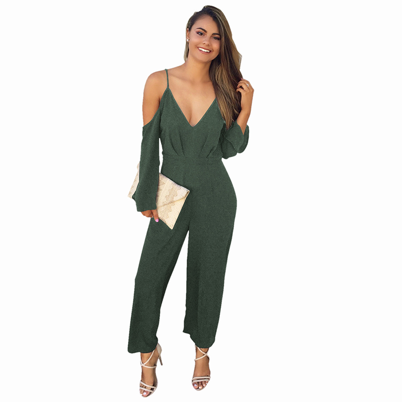 Waist Playsuit Beach Loose Long Summer Clothing Jumpsuit 2020 High Sexy Casual Women New Solid Overalls Jumpsuit Female Romper
