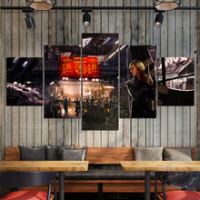 Elite:Dangerous Video Game Poster 5 Pieces Unframed Canvas Painting Art Wall Pictures for Living Room and Playroom Decor
