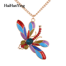 Creative Colorful Exquisite Dragonfly Women Necklace Cartoon Pendant Party Clavicle Chain Luxury Jewelry Fashion Declaration