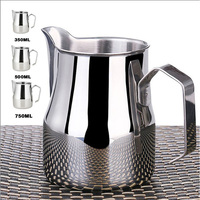 Edelstahl Milch Krug Espresso Tassen Kaffee Schäumer Tassen Italienische Latte Art Latte Milch Aufschäumen Krug Krug Tasse 350/ 500/750 Ml-in Milchkrug aus Heim und Garten bei