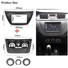 2 sztuk Panel sterowania AC ramka wykończeniowa radia samochodowego dla Mitsubishi Lancer IX 2006 centrum sterowania odtwarzacz DVD zestaw do przycinania 2 Din rama dla radia