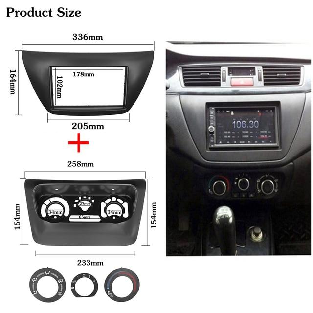 2pcs AC Control Panel Car Radio Fascia for Mitsubishi Lancer IX 2006 Center Control DVD Player Trim Kit 2 Din Frame for Radio