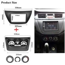 2pcs AC Pannello di Controllo Autoradio Fascia per Mitsubishi Lancer IX 2006 Centro di Controllo Lettore DVD Trim Kit 2 din per la Radio