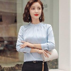 Image 3 - Long Sleeve Beading Shirt Women Fashion New Autumn O Neck Loose Chiffon Blouse Office Ladies Plus Size Work Tops