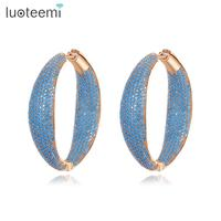 LUOTEEMI Luxury Design Big Round Loop Hoop Earrings for Sexy Women with Micro Cubic Zircon Fashion Jewelry Ear Cuff Brincos