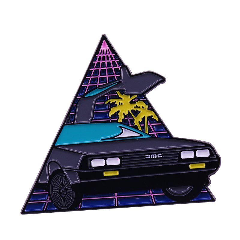 Back to the Future Inspired DeLorean Retro Synthwave Enamel Pin Marty McFly Time Machine Fans Neon Aesthetic Collection
