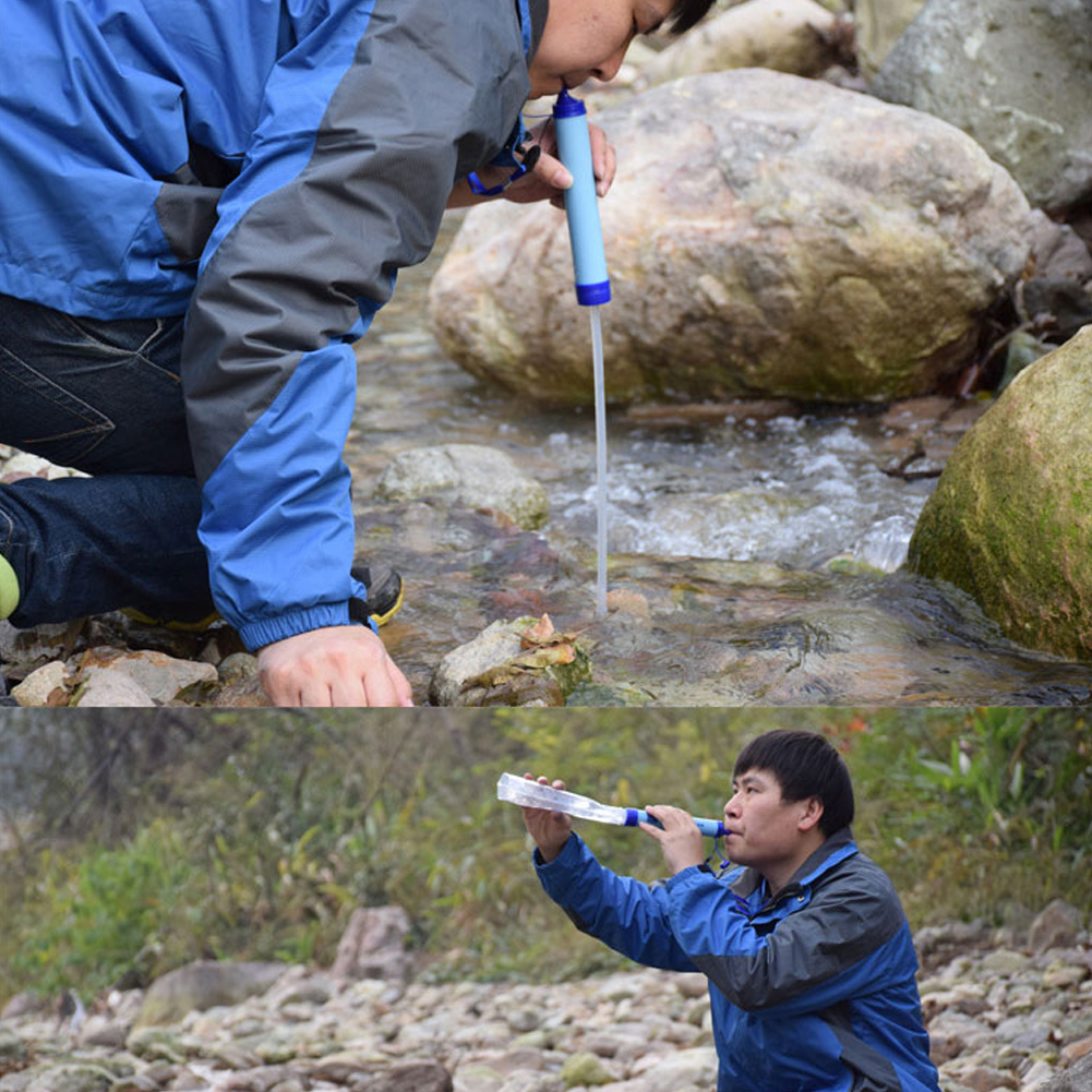Person - Portable Water Purifier Camping Hiking Emergency Life Survival Outdoor Secure Purifier Survival Water Filter Drinking Treatment