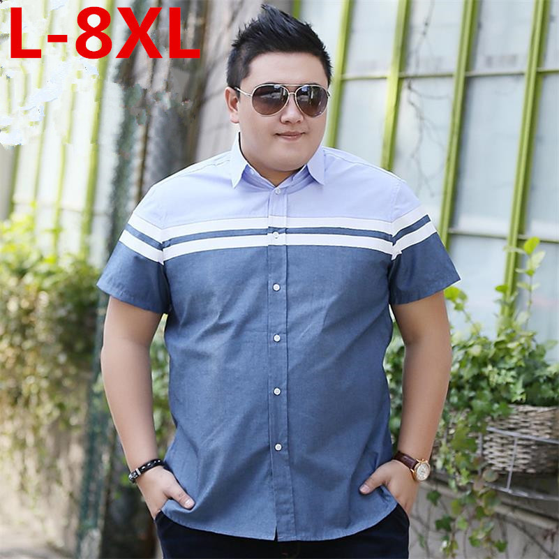 Plus Size 8XL 7XL 6XL  Men's Shirt Brand Luxury Men Cotton Short Sleeves Dress Shirt Turn-down Collar Cardigan Shirt Men Clothes