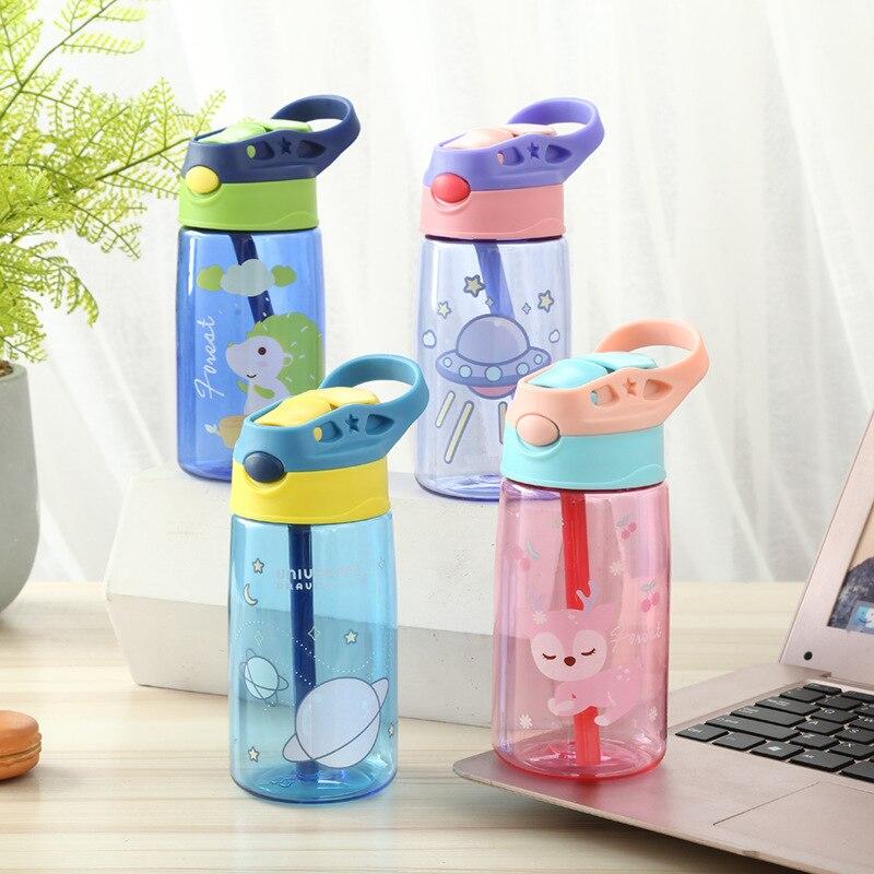 Модная брендовая детская соломенная чашка, пластиковые бутылки для воды, Детские Мультяшные креативные бутылки для воды для школьников