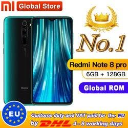 Globale di ROM originale Xiaomi Redmi Nota 8 pro 6GB 128GB MTK Helio G90T Smartphone 4500mAh 64MP Quad fotocamera posteriore da 6.53 18 W NFC