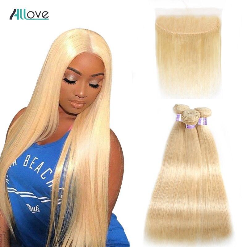 Allove Platinum Blonde Straight Hair Bundles with Frontal Brazilian Hair Weave Bundles Remy Human Hair Bundles