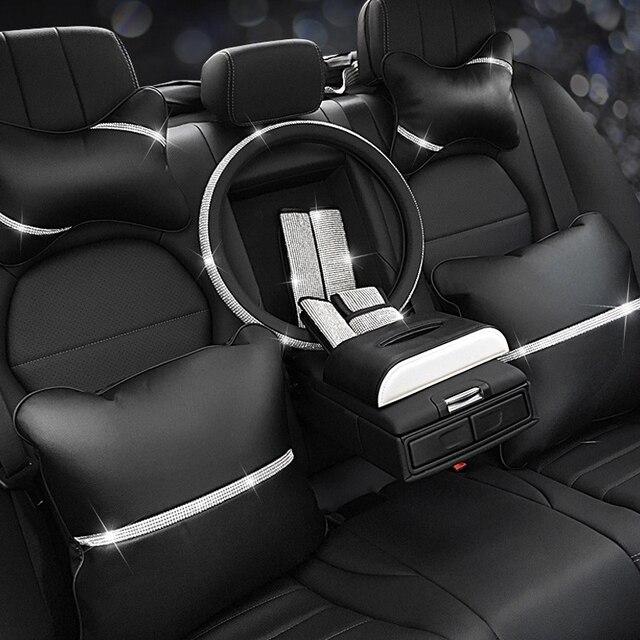 Автомобильная подушка для сиденья, защита для шеи, Кристальный Автомобильный подголовник, поддержка отдыха, путешествия, чехол для колеса автомобиля, подголовник, подушка для шеи на талии