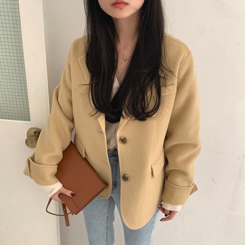 H60b57b24c536427ab8545fba0d820aa7g - Winter Korean Revers Collar Solid Woolen Short Coat
