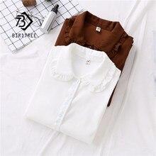 Blusa sólida peter pan, gola franzida, camisa branca, manga lanterna, botão, casual, marrom, blusa feminina t99025f