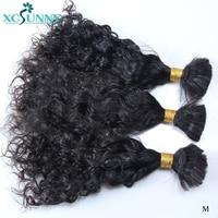 Curly Bulk Hair Human Braiding Hair Extensions No Weft Remy Brazilian Bulk Human Hair For Braids 2/3/4Pcs A Lot Bundle xcsunny