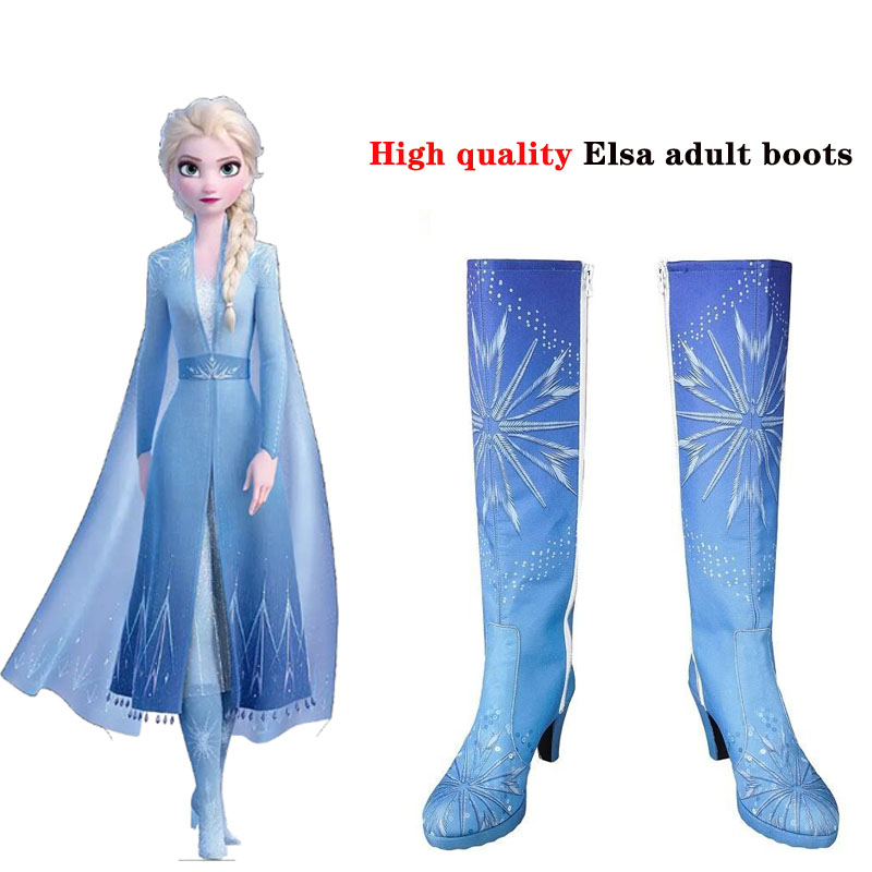 Queen Elsa Costume Snow Ice Princess Anna Frozen 2 Cosplay Costume Adult Blue High Heels Halloween Boots Knee-High Girl