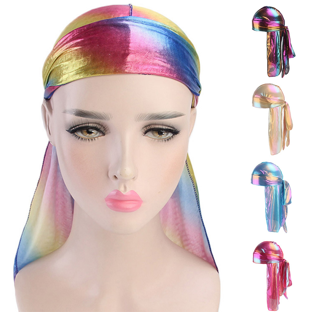 Winter <font><b>Men</b></font> Women Colorful Sparkly Turban Bandana Hat <font><b>Silk</b></font> <font><b>Durag</b></font> Rag Tail Headwrap Fashion Women Cap Girls Hair Accessories image