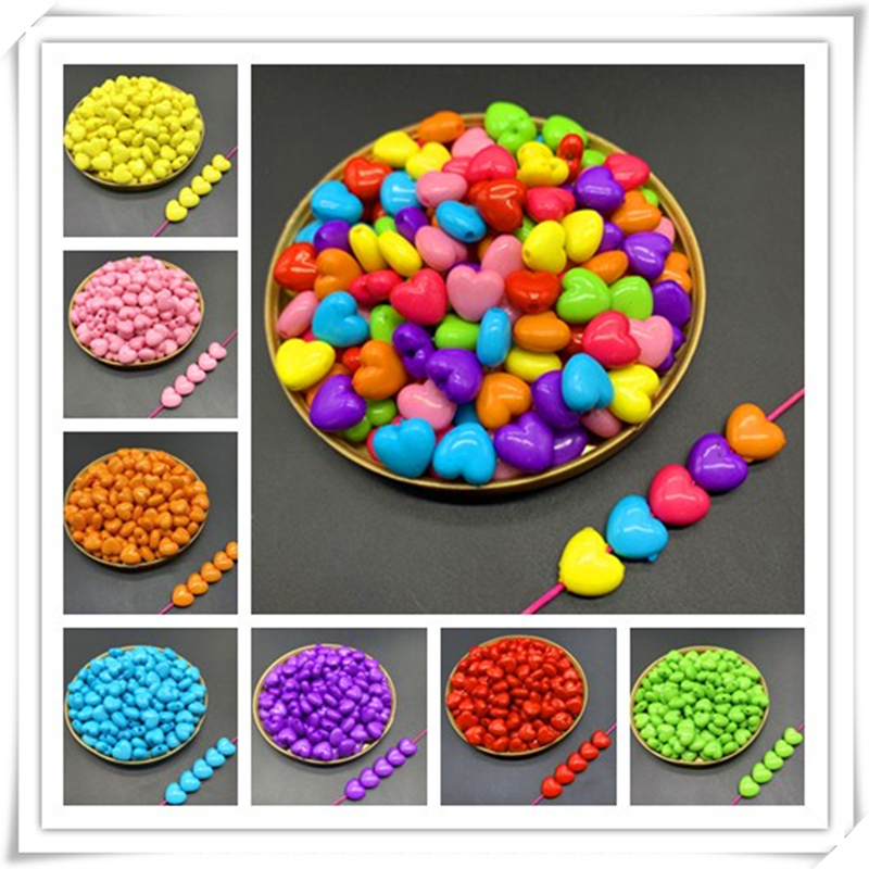 New 50pcs Of Acrylic Heart Beads Earrings Necklace Accessories Beads For Jewelry Making DIY Jewelry Findings