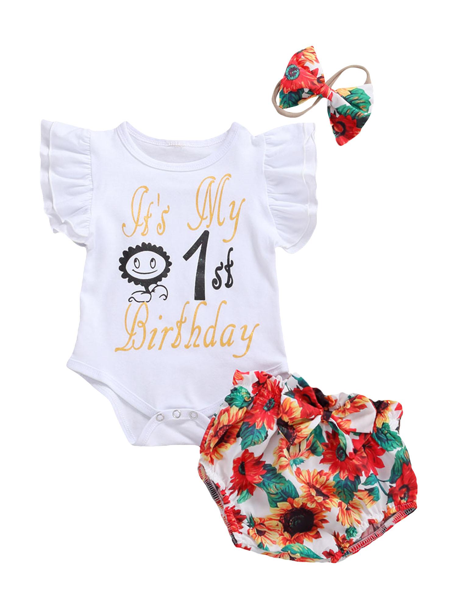 Детский комбинезон + шорты + повязка на голову, летняя одежда с буквами на первый день рождения и цветочным узором