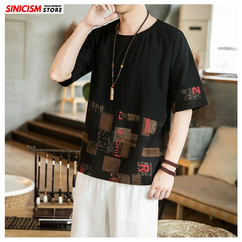 Sinicism Store 2020 Men O-Neck Patchwork Linen TShirts Men Short Sleeve Summer Loose TShirts Male Clothing Chinese Style Tops