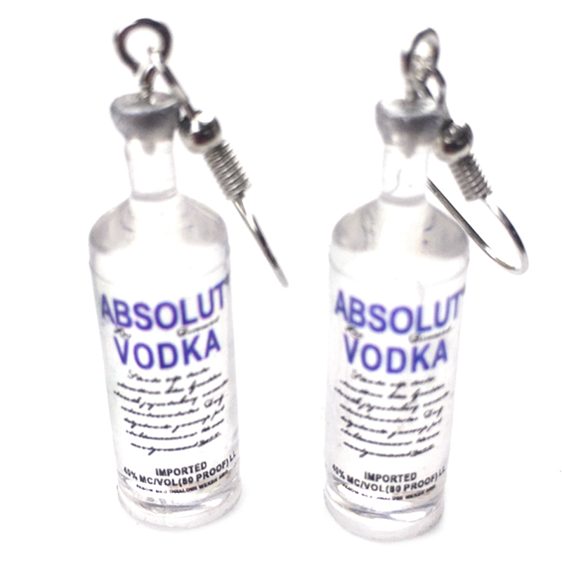 1 Pair Earrings Creative Vodka Bottle Pendant Dangle Women Jewelry Party Funny